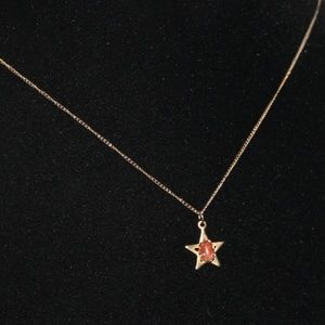 Vintage gold stone star necklace 1/20 12k